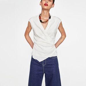Zara Draped Linen Top